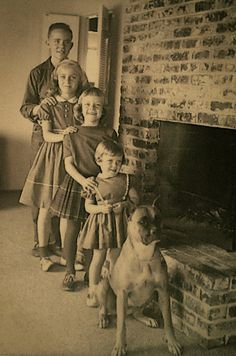 Looks like my family growing up, just short one child but including one handsome boxer!