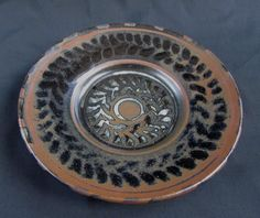 "Wax resist ""Nuka "" over tenmoku, butter dish Ceramic Artists, Butter Dish, Stoneware, Decorative Plates, Wax, Ceramics, Dishes, Ceramica, Pottery"