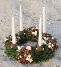 Advent wreath itself twine twine tie thread jute straw ornament Tang star - Weihnachten - Christmas Advent Wreath, Christmas Candles, Christmas Countdown, Holiday Wreaths, Christmas Crafts, Advent Wreaths, Reindeer Christmas, Natural Christmas, Winter Christmas
