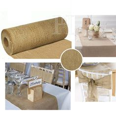 Wedding Hessian Table Runners Cut Edge Decoration Vintage Shabby Chic 9mtrs 29cm in Home, Furniture & DIY, Wedding Supplies, Centerpieces & Table Decor   eBay