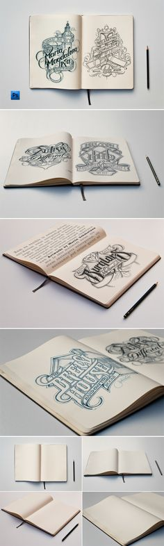 Sketch Book Mockups by Andrea Balzano, via Behance