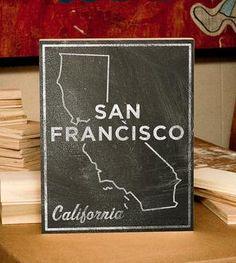 San Francisco Chalkboard Print Wood Art