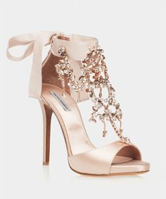 """Here She Comes Bridal Rose Satin Open Toe Sandal Tabitha Simmons Br. - Here She Comes Bridal Rose Satin Open Toe Sandal Tabitha Simmons Bridal """"Here She Co - Fancy Shoes, Cute Shoes, Me Too Shoes, Wedding Heels, Prom Heels, Bridal Heels, Sparkly Heels, Shoes For Wedding, Rose Gold Shoes Heels"""