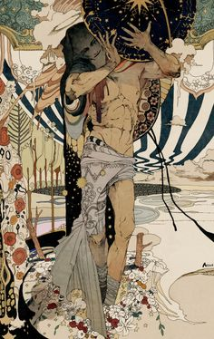 """The Incredible Illustrations of Flame.Take a look at the astounding illustrations by Japanese artist """"Flame."""" These works honorably show their respect to early Century illustrator Harry Clarke. Art And Illustration, Illustrations And Posters, People Illustration, Kunst Inspo, Art Inspo, Fantasy Kunst, Fantasy Art, Anime Kunst, Anime Art"""