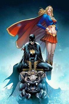 Supergirl and Batgirl by Mike S. Miller #MarkSMiller #Supergirl #LindaDanvers #KaraZorEl #Krypton #JL #JusticeLeague #LoSH #LegionofSuperHeroes #SupermanFamily #BarbaraGordon #Batgirl #BatmanFamily #GothamCity #BirdsofPrey #Oracle