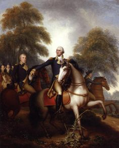 """""""Washington Before Yorktown"""" in 1823 by Rembrandt Peale (1778- 1860). Dramatic moment near the end of the Revolutionary War (1775-83), flanked by his officers, at left, Knox, Benjamin Lincoln, and Comte de Rochambeau behind the Marquis de Lafayette, at right, Alexander Hamilton."""