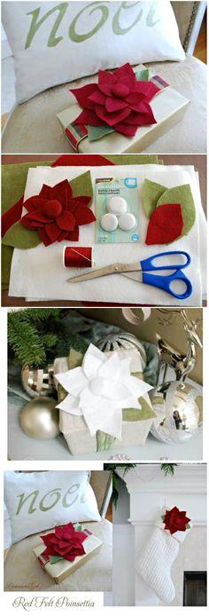 Holiday~~DIY ● Tutorial ● Felt Poinsettias