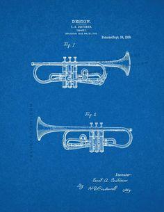 "Trumpet Patent Print - Blueprint 24"" x 36"" for $40.95"