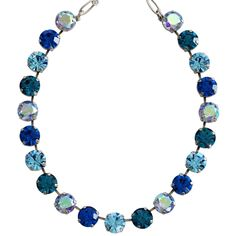 """Mariana Silver Plated Classic Large Shapes Necklace, 15"""" + 4"""" Extender, Blue Lagoon. Available at www.regencies.com"""