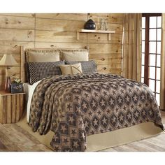 Queen Size Coverlet Black Tan Jefferson Star Chenille Country Primitive Bedding #VHCBrands #RusticPrimitive