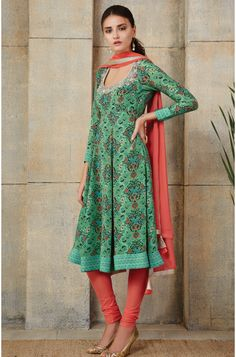 e586ab5c593 Party Wear Green and Blushing Red Printed with Hand Work on Neck Georgette  Twill EID Special Salwar Kameez Product Code