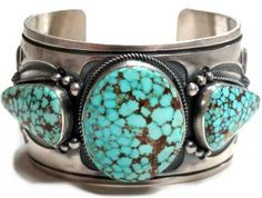 Aaron Toadlena, Old Style Navajo Silver and Turquoise Cuff