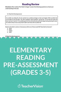 This elementary reading pre-assessment for back to school is designed to help you benchmark reading assessment levels for grades 3 through 5 and plan for intervention and remediation of learning gaps resulting from remote, hybrid, and quarantine instruction, or summer learning loss. Reading Resources, School Resources, Reading Skills, Teacher Resources, Reading Passages, Reading Comprehension, New School Year, Back To School, My Fathers Dragon