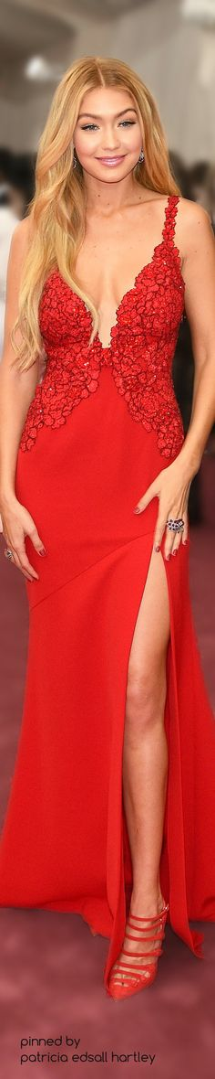 Gigi Hadid red maxi dress women fashion outfit clothing style apparel @roressclothes closet ideas