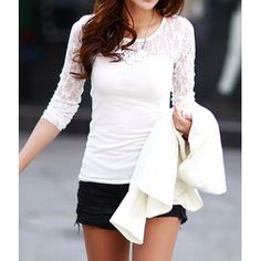 Casual Scoop Neck Long Sleeves Lace Splicing T-Shirt For Women (WHITE,XL) in Tees & T-Shirts | DressLily.com