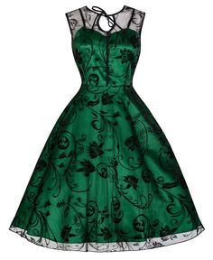 Lindy Bop 'Frankie-Jean' Chic Black Flock Vintage 50's Cocktail Dress (L, Green)