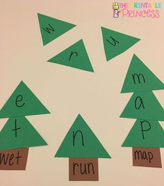 Christmas tree CVC words. Could also use for sight words. So many great math and literacy ideas for December!!
