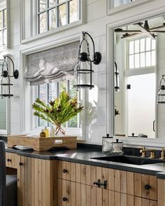 Congratulations to designer @wyethrayinteriors and architect @joelkellydesign for being recognized as @atlantahomesmag's 2021 Bath of the Year winner! We 🖤 the Cheyenne Medium Lanterns by Ralph Lauren, the raw white oak cabinetry by @karpaty_cabinets, bronze cabinetry hardware and unlacquered brass plumbing that will patina with the age of the house. #circalighting #MyAtlantaHomes #ralphlauren #interiordesign #homestyle ⠀⠀⠀⠀⠀⠀⠀⠀ Circa Lighting, Ferrat, Atlanta Homes, Log Cabin Homes, Upstairs Bathrooms, Visual Comfort, House And Home Magazine, Rustic Feel, Architect Design