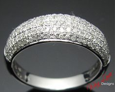Diamond 5 row Pave Half Eternity Stackable Band by WanLoveDesigns