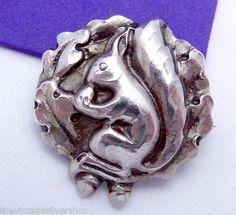 Evald Nielsen Denmark Danish Sterling Silver Squirrel Pin