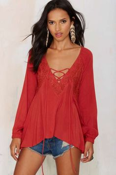 Rumours Lace Up Top - Rust - What's New