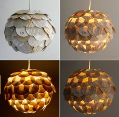 Artichoke Mixed Book Page Pendant Light by Zipper8Lighting -- gorgeous.