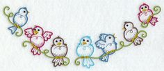 EMBROIDERY -  Perching Birds Crescent
