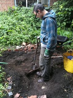The pond being dug