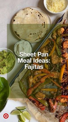 Whip up quick & easy meals with a one-sheet chicken fajitas recipe with grilled veggies. Serve on tortillas. Yum! Mexican Dishes, Mexican Food Recipes, Beef Recipes, Cooking Recipes, Healthy Recipes, Yummy Recipes, Fajita Recipe, Main Meals, Food Dishes