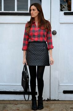 9e8827f217 Classroom Couture: Plaid flannel shirt + quilted mini skirt + tights +  booties Quilted Leather