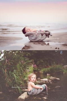 Tisha Johnson | Intrigue Photography  https://www.facebook.com/tishajohnsonphotography | www.tishajohnson.com    mermaid baby, beach, then and now, together, family, kids, children, water, outdoors, love, vintage Canada, Ontario, Ingersoll, Toronto, London