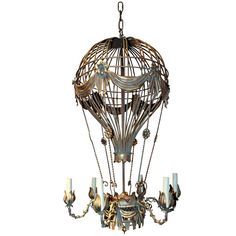 Hot Air Balloon Chandelier from 1stdibs. Saved to Home Decorateness. #lighting #hotairballoon #homedecor.