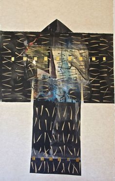 Paper Kimono by Maria Tupay Duque, 2011. 200cm H x 110cm W. Collage, ink, watercolour, gold leaf, rice and hemp paper. and hemp paper 110 x 200 cm
