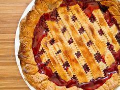 Cherry Rhubarb Lattice Pie