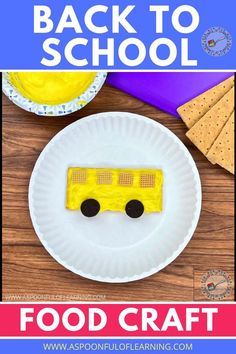This school bus food craft is a fun way to kick off back to school with your class or child! What is more fun than crafts with food! All you need is a graham cracker, yellow icing, 4 Chex, and 2 mini Oreos. This special back to school treat is easy for kids to do on their own and tastes absolutely delicious! Happy Back to School!
