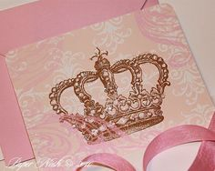 Corona princesa invitaciones incluye sobres brillantes color