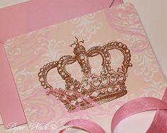 Corona princesa invitaciones incluye sobres brillantes color