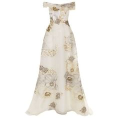 Marchesa Floral Embroidered Off-The-Shoulder Gown