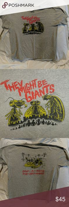 828d6372b988 Vintage indie They Might Be Giants 90s 80s tee TMBG shirt, see pics! Grey