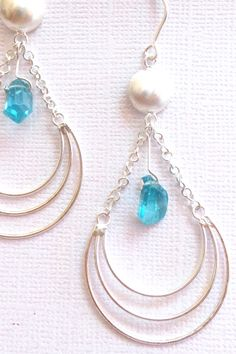 Silver Earrings Half Circle with Fluorite bead $69.99