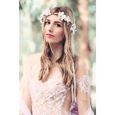 Bridal Flower Crown ($20) ❤ liked on Polyvore featuring accessories, hair accessories, bridal floral crown, bride hair accessories, floral garland, flower garland and floral crowns