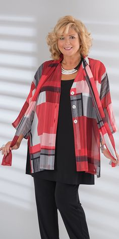 Kasbah red/black/cream voile block kimono jacket and matching scarf