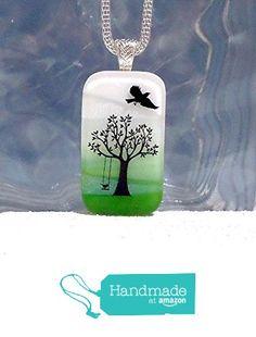 Backyard Tree Swing Fused Dichroic Glass Pendant Necklace Silver Bail - Ready to Ship A2956 from Lolas Glass Pendants http://www.amazon.com/dp/B015GH9HC8/ref=hnd_sw_r_pi_dp_PkfLwb11RKWGA #handmadeatamazon
