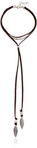 Lucky Brand Brown Leather Choker Necklace 12  2 Extender >>> Click image for more details.