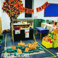 Change your dramatic play center into a Pumpkin Patch for fall! Students made the most of the props including the pumpkins, gourds, vines, the kettle corn, and fall corn maze. Preschool & Pre-K students will LOVE it!