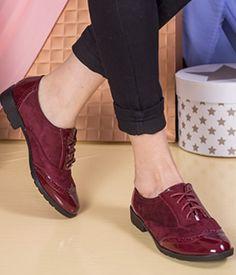 Pantofi bordo fara toc din piele lacuita si catifea Oxford Shoes, Casual, Women, Fashion, Moda, Fashion Styles, Fashion Illustrations, Woman
