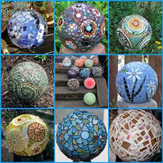 DIY garden art  Create mosaic art with silicone caulk, tiles and glass and grout on old bowling balls.