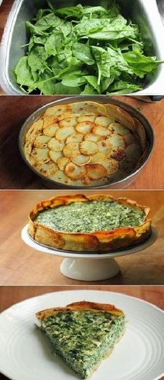 Spinach and Spring Herb Torta in Potato Crust Recipe Ingredients 3 large russet potatoes (about 600 g, 1 ¼ pound) about 2 tbsp olive oil 350 g spinach (about a colander full, stems removed if the l… Vegetable Recipes, Vegetarian Recipes, Cooking Recipes, Healthy Recipes, Potato Crust Recipe, Torta Recipe, Comidas Light, Cuisine Diverse, I Love Food