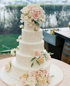 Pink and White Wedding Cake Flowers | Charlotte Jenks Lewis Photography | Blog.TheKnot.com