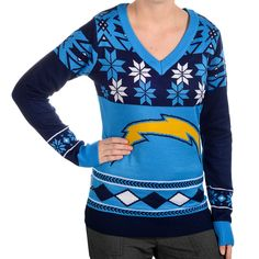 San Diego Chargers Womens Big Logo V-Neck Sweater - 1
